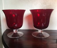 Two Ruby Red Art Glass Large Goblets  Bear, 19701