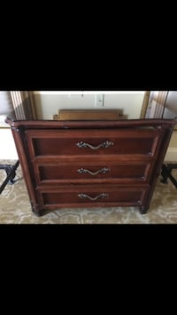 """""""Large, dark cherry wood, glass top, 3 drawer night stand"""" New Orleans, 70117"""