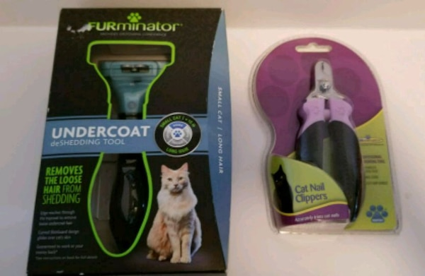 Cat nail clippers and furminater brush