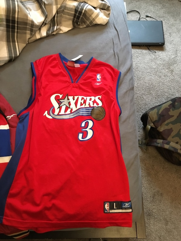 28186ab6133 Used Red and blue philadelphia sixers 3 allen iverson basketball jersey for  sale in Ajax - letgo