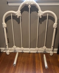 White powder coated (won't chip) twin metal headboard. Adjustable height. Excellent condition.  Ridgewood, 07450