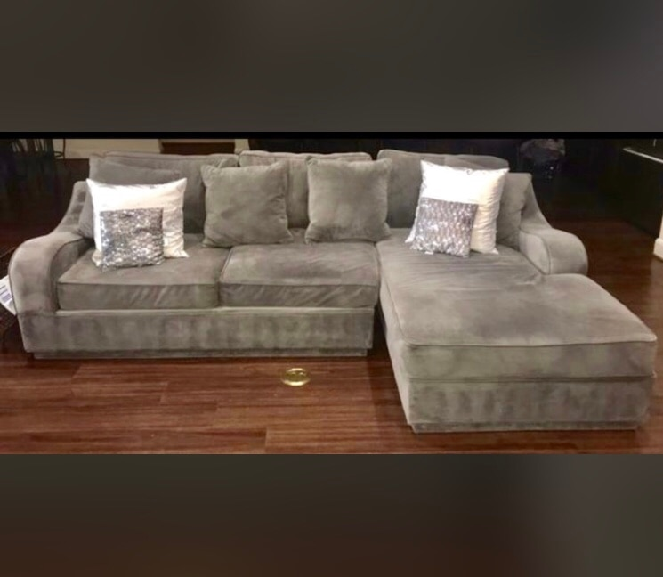 gray suede 3 seat sectional sofa with chaise usado en venta en katy rh es letgo com