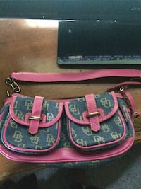 pink and black leather crossbody bag Newton, 02459