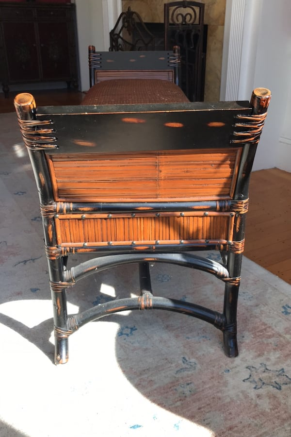 Wicker and wood bench 916bf92d-5b18-4c68-9fb6-c03667e04f0c