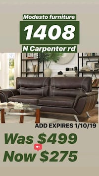 brown leather sectional sofa with ottoman Modesto, 95355