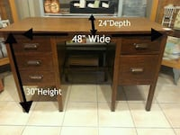 Wooden Knee Hole Desk with Dove Tailed Drawers Port Coquitlam, V3C 2A1