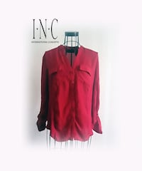 INC International Concepts Red Button Down Shirt Las Vegas