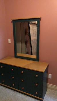 Green and light wooden dresser with mirror 3725 km