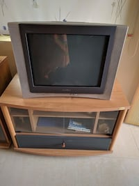 gray CRT television with brown wooden TV stand Secunderabad, 500062