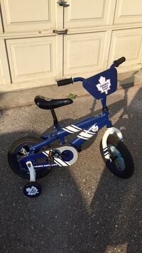 toddler's blue and white bicycle with training wheels Mississauga, L5B 4G7