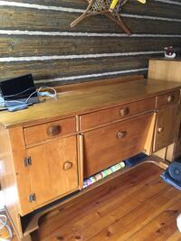 Pine buffet with cupboards and drawers