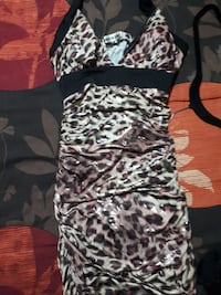 black and white leopard print halter dress
