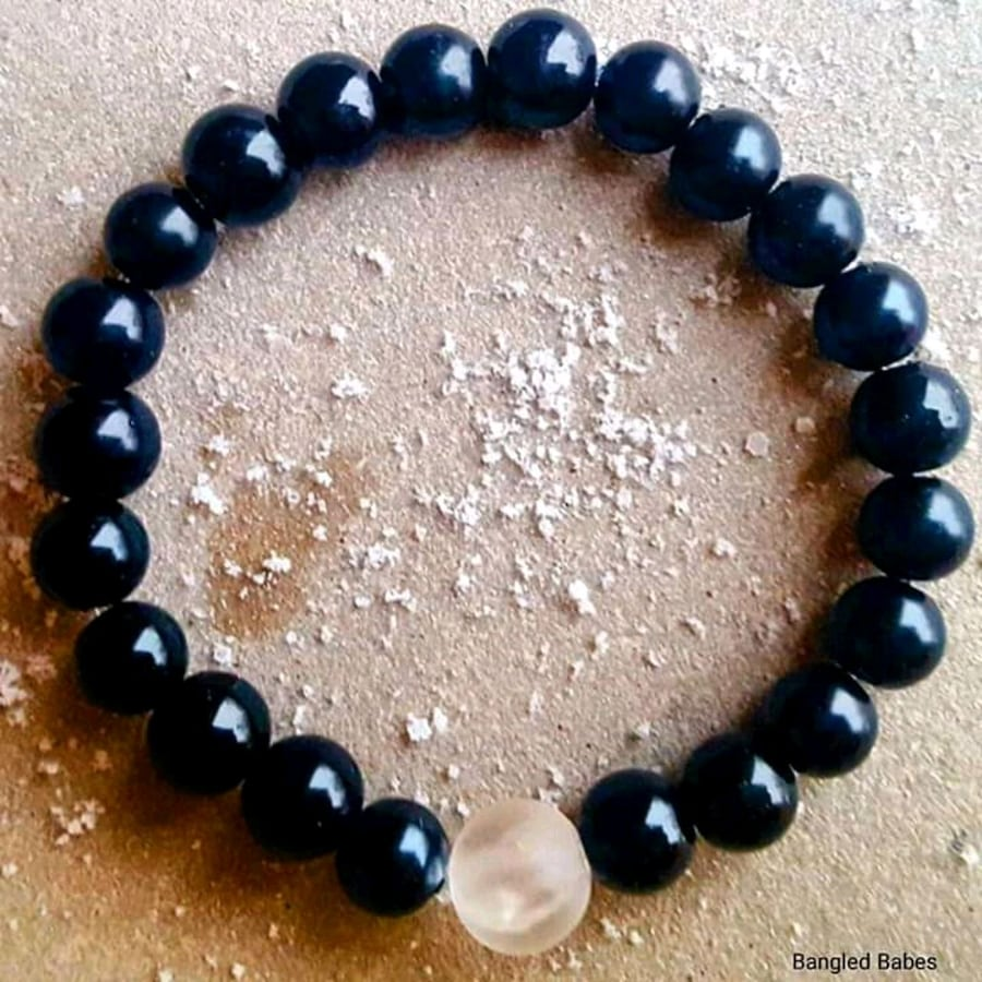Obsidian and quartz 10mm gemstone bracelet