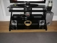black glass layered TV stand