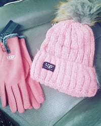 pink and gray UGG knit cap with pair of pink gloves Rockville, 20853