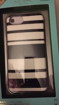 black and white striped iPhone case with box