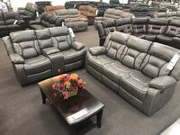 Only $50 Down!  New Reclining Couch Sofa Set. Grey Gel Leatherette. Delivery and Assembly included   Anaheim