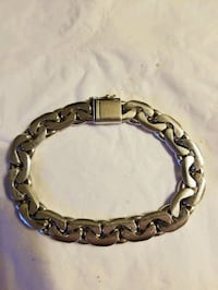 "HEAVY SOLID SILVER BRACELET, 8"", 55.1 grams. Columbia"