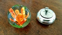 Glass flower paperweight+yachting portable ashtray 39 km