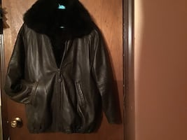 Only at Bloomingdales  fur lined leather jacket.