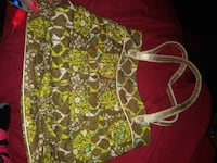 women's brown and green floral tote bag