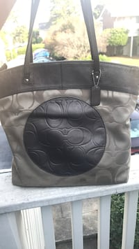 black and gray Coach leather tote bag Greenville, 29615