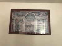 brown wooden framed painting of house null