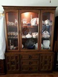Vintage 1970s Maple China Cabinet