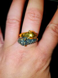 Brown Diamond Panther Bypass Ring in 14kt Gold Over Sterling  (Ross Si Woodbridge, 22192