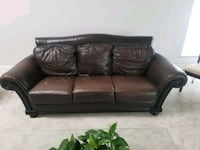 Genuine brown leather sofa and love seat