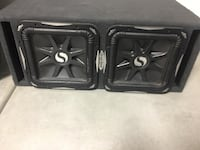 Two black kicker subwoofer speakers 2061 mi