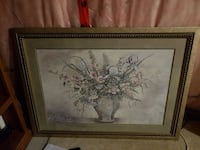 white petaled flower arrangement painting with brown frame King City, L0G