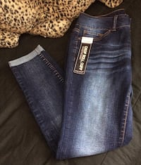 blue denim straight-cut jeans