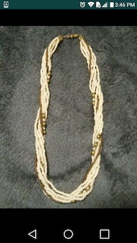 white and brown beaded multi-tiered necklace Honolulu, 96818