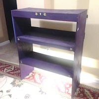 Bookcase / hutch / wood / electric light at base / purple Columbus