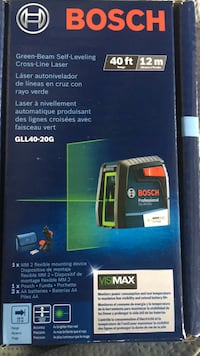Bosch green beam self leveling cross line laser . BNIB model GLL40-20G. Firm price retail for 120 plus taxes  Langley, V2Y 0H9