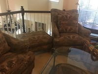 High back cushioned wing chairs and ottoman Dallas, 75287