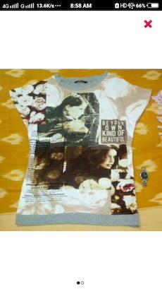 women's white , brown and gray printed crew neck s