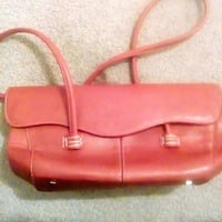 women's red leather purse