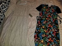women's beige and black floral dress