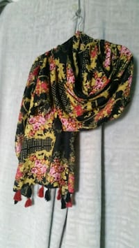 black, yellow, and pink floral scarf