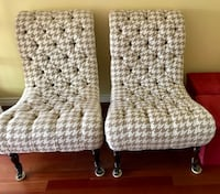 two beige and cream tufted chairs Ajax, L1S 5K4