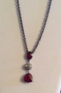 Silver-colored ruby pendant necklace, 16""