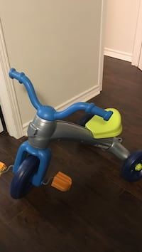 Gray, lime green, and blue trike