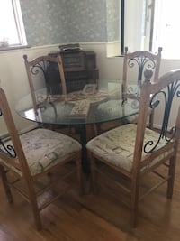Hand carved wood and glass table with 4 chairs Littleton, 80120