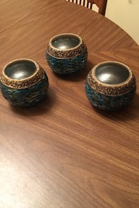 3 Teal Iridescent Votive Candle Holders