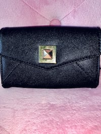 Waist purse/ bag / clutch / wallet with strap for belt - black with gold detailing