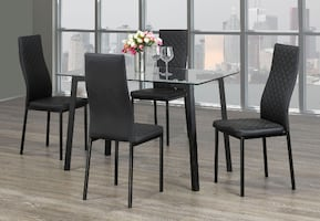 BRAND NEW 5PC DINNING SET WITH TEMPERED GLASS TOP