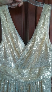 BRAND NEW KATE KASIN GOLD SEQUIN FORMAL GOWN