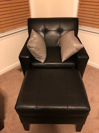 Genuine Black Leather Sofa, Chair and ottoman.